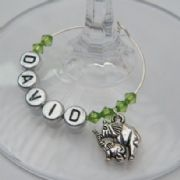 Double Elephants Personalised Wine Glass Charm